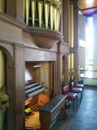 Five Previous Wounds Catholic Church, London NW10, UK: organ facade, facing north.