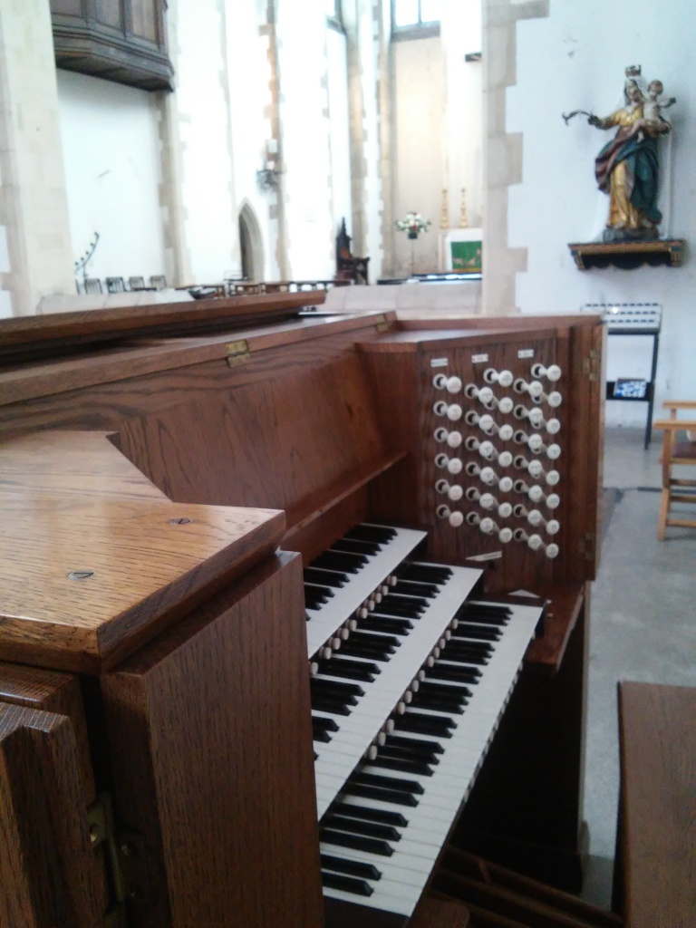 The Wyvern organ at St Benet's Kentish Town: console, looking east.