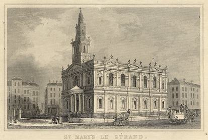 St Mary-le-Strand, south side and western end. Mid nineteenth century