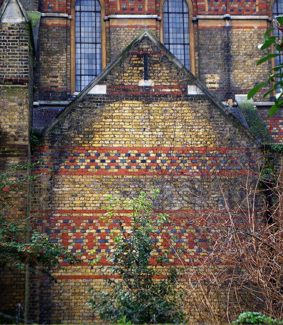 St Peter's church Vauxhall, south London, 1864; exterior brickwork, c.2015