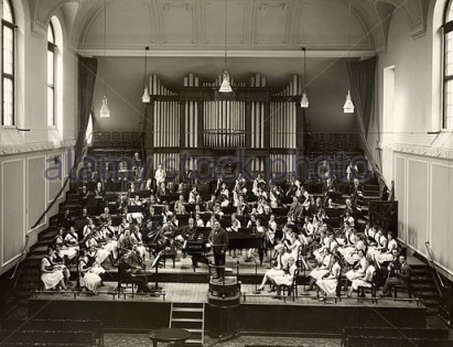 1930s: the stage of the Duke's Hall in the Royal Academy of Music,