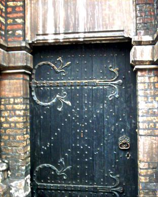 St Peter's church, Vauxhall, London; exterior door detaii