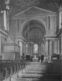 St Mary-le-Strand, nave, c.1927, showing the Hunter & Webb organ of 1863.
