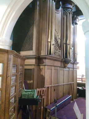 St Margaret's, Barking, original organ-case front (1770), now the organ's west facade, from the north side