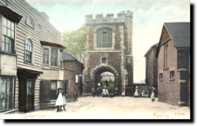 Barking Abbey gateway, townside late c19, before clearance of the surrounding buildings