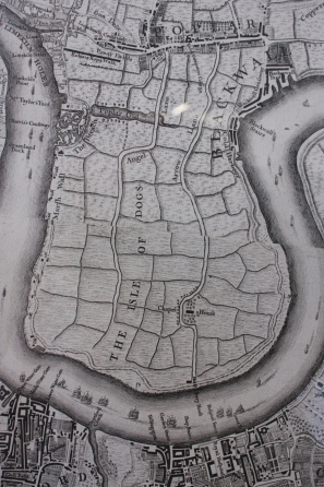 The Isle of Dogs. 'A plan of the cities of London and Westminster, and borough of Southwark', John Roque (c.1709–62), 1747) and John Pine (1690–1756). Poplar is at the top centre of the map.