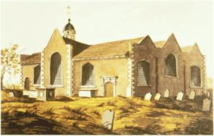 Poplar Chapel (later St Mathias) built 1654, as seen c.1799.