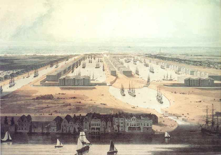 'A view of the proposed West India Docks and City Canal' (1802) by W Daniell (1769–1837)