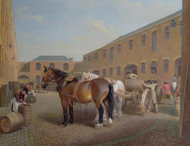 'Loading the Drays at Whitbread Brewery, Chiswell Street, London' (1793) by George Garrard (1760–1826)