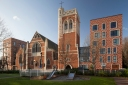 St Mary-of-Eton church (1890), London E9, west front, showing 2015 residential additions, c.2016.