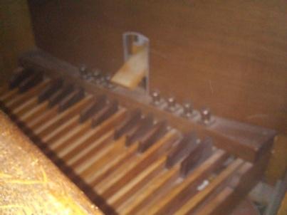 St Bartholomew the Less, Smithfield, organ pedalboard, c. 2016.