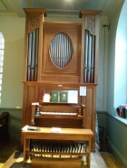 The Nicholson pipe organ in St Joseph's Church, Lamb's Buildings, London EC1: case