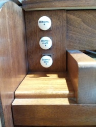 The Nicholson pipe organ in St Joseph's Church, Lamb's Buildings, London EC1: stop jamb, left