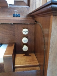 The Nicholson pipe organ in St Joseph's Church, Lamb's Buildings, London EC1: stop jamb, right