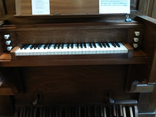 The Nicholson pipe organ in St Joseph's Church, Lamb's Buildings, London EC1: keyboard
