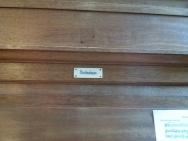 The Nicholson pipe organ in St Joseph's Church, Lamb's Buildings, London EC1: builder's plate