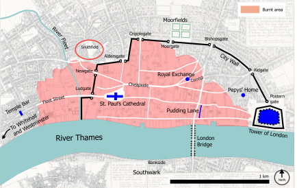 London, 1666, showing the location of Smithfield adjacent to the areas destroyed by the Great Fire.