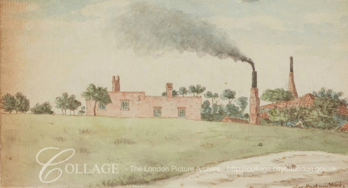 Factory buildings viewed across a field, near Hackney Wick c1795