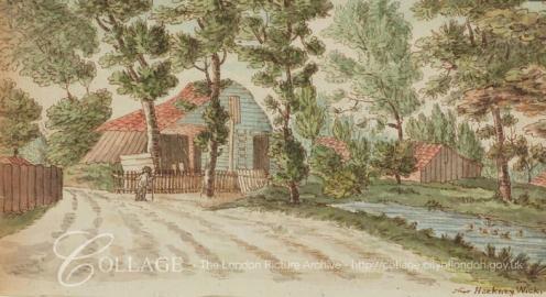 View of farm buildings near a stream in Hackney Wick c1795