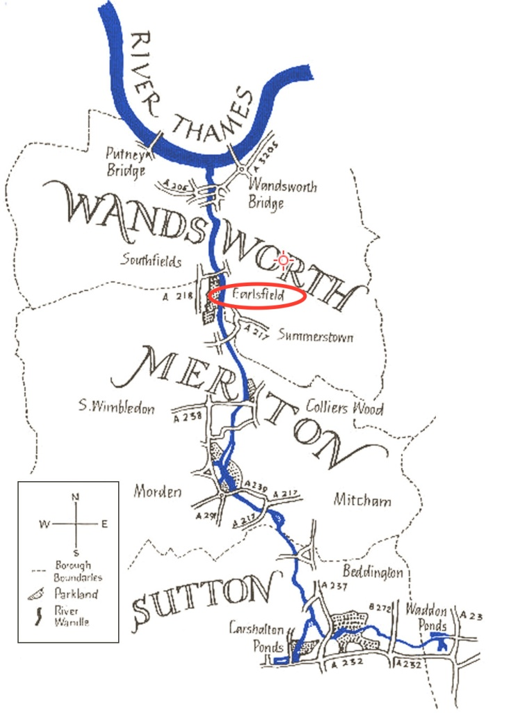A map showing the course of the River Wandle, running north into the River Thames at Wandsworth
