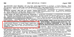 Advertisement for an organist for St John the Divine, Earlsfield in The Musical Times, August 1943