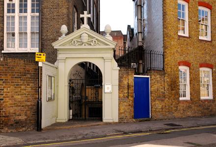 Lamb's Buildings, London, EC1; gateway to St Joseph's Church, c.2010