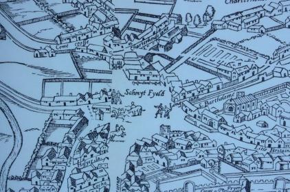 Smithfield, from 'Civitas Londinum' (attrib. Robert Agas c.1560-70), publ. 1633.