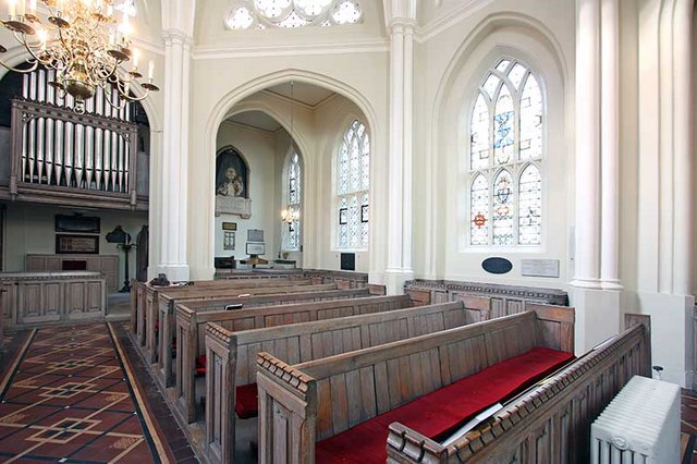 St Bartholomew the Less, Smithfield, looking north-west, c. 2015.