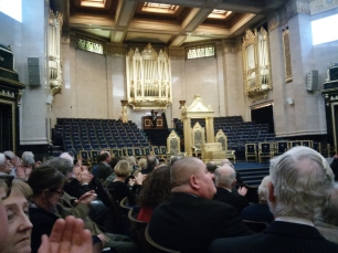 Jane Parker-Smith taking applause after her recital at Freemasons Hall, London WC2, on 14 December 2016.