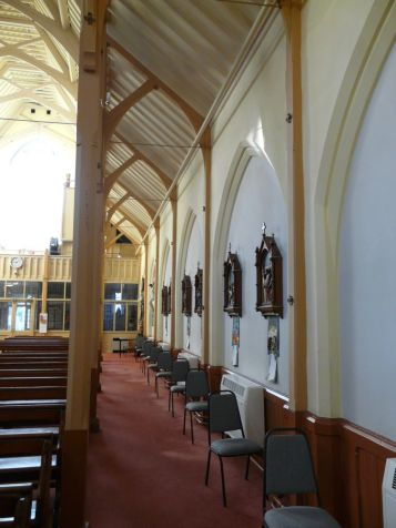 St Monica's Priory, Hoxton, London (UK); aisle, looking west.