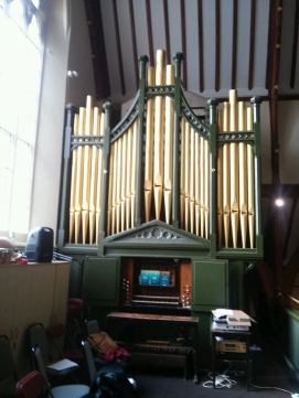 The pipe organ (1866) in St Monica's Priory, Hoxton, London (UK)