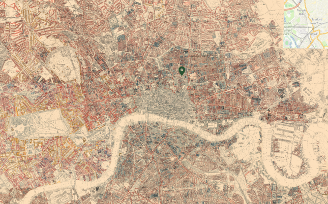Charles Booth's 'Maps Descriptive of London Poverty, 1898-9'; the black marker indicates Hoxton Square. (Source: https://booth.lse.ac.uk/).
