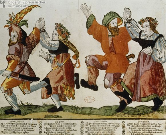 Dancing Peasants (late 16th Century). Woodcut by unknown German artist.