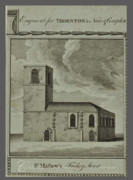 Anon. 'St Matthew, Friday Street, exterior', c18. Source: City of London TA 31328