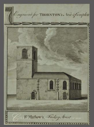 Anon. 'St Matthew, Friday Street, exterior', c18. Source: City of London TA 31328