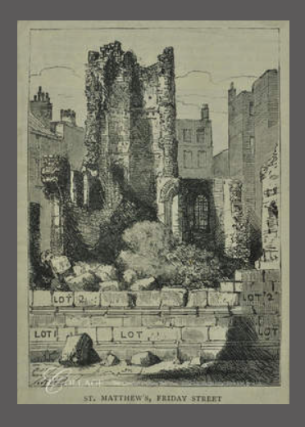 H.W.B. 'St Matthew's Church: Ruins before final demolition'. Source: City of London TA 04997