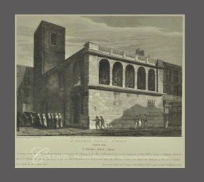 John Coney. 'St Matthew's Church, Friday Street', Engr. T Skelton (1814). Source: City of London TA 31332