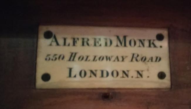 The builder's plate on the 1889 organ in St Thomas the Apostle parish church, London N4