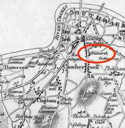 John Fairburn's 1802 Map of London, showing Wllworth