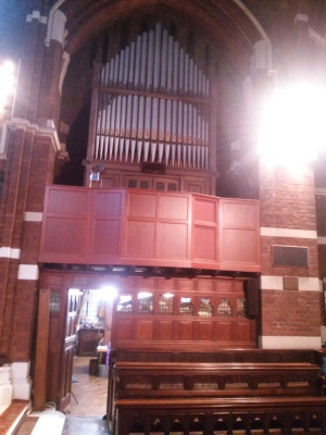 St Michael and All Angels church, Walthamstow, London E17. South Choir gallery pipe-organ.
