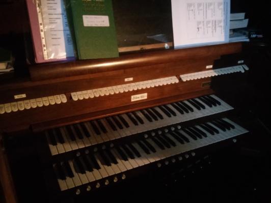 St Michael and All Angels church, Walthamstow, London E17. Allen organ console. South Choir gallery.