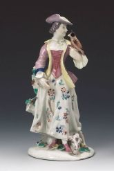 Figurine of a lady falconer (Bow Porcelain Factory c.1755)