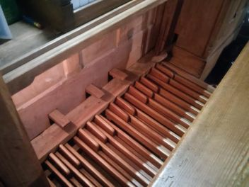 St Michael and All Angels church, Walthamstow, London E17. G. M. Holdich pipe-organ pedal board.