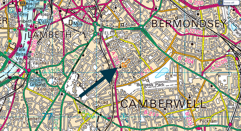 Map (2017) showing the location of St Peter's Walworth