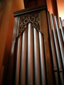 Pipe-shade detail. Our Lady and St Catherine of Sienna Catholic church London E3, pipe organ by Hill, Norman and Beard.