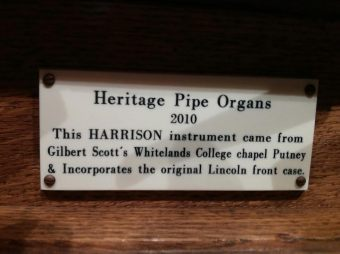 St Peter's Walworth (1824), pipe organ, builder's plate, in 2017