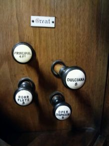 Great-organ stops. Our Lady and St Catherine of Sienna Catholic church London E3, pipe organ by Hill, Norman and Beard.