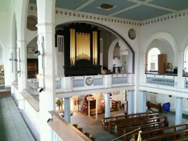St Peter's Walworth (1824), pipe organ, facade by H. C. Lincoln (1824), in 2017