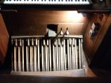 Pedal board. Our Lady and St Catherine of Sienna Catholic church London E3, pipe organ by Hill, Norman and Beard.