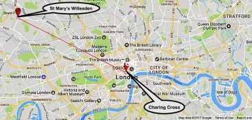 The location of the church of St Mary Willesden, 5.9 miles north west from Charing Cross,